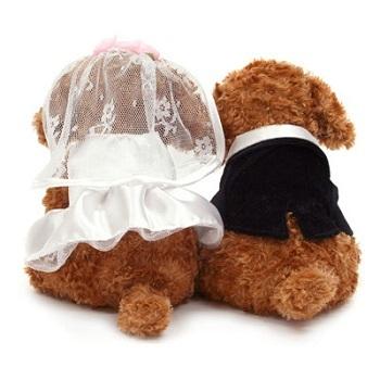 新品★ウエルカムドッグ★プードルペア茶★ぬいぐるみ★ウエディング★結婚祝いや結婚式、2次会に_画像2