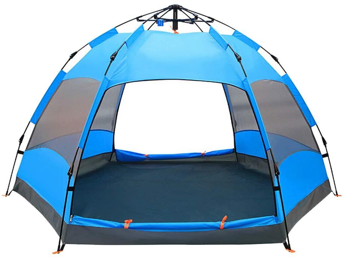 2-4人用 ワンタッチメッシュ六角形テント ブルー /二重層防風防水uvカット加工 多機能用途テント 多用途 _画像5
