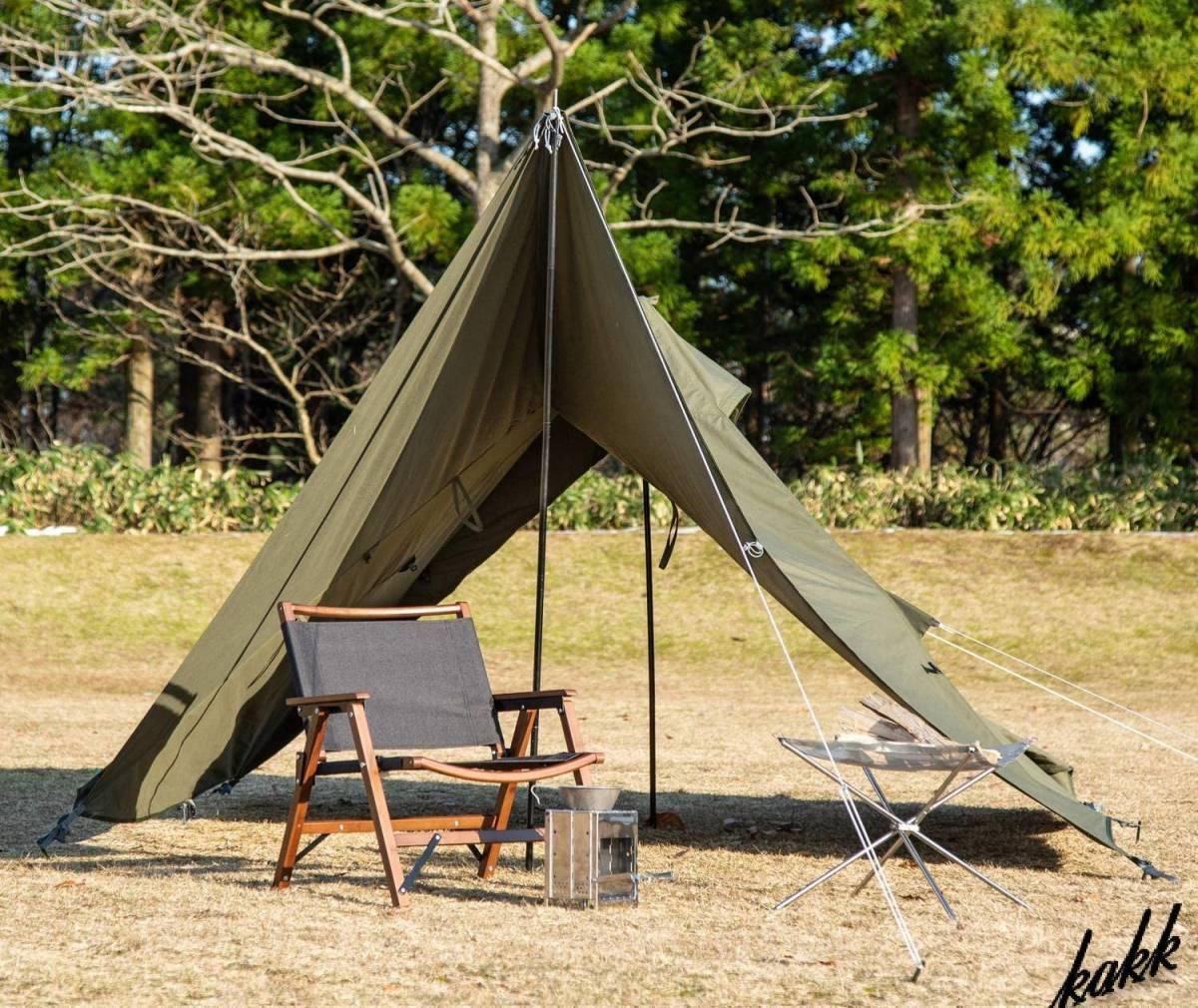 【フルクローズ可能】 1人用 ソロ ティピー ワンポールテント ツーリング キャンプ アウトドア レジャー 旅行 コンパクト BUNDOK カーキ