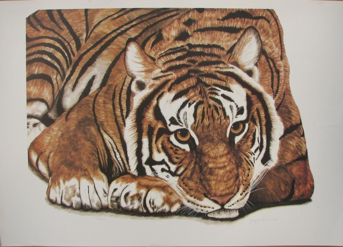 世界最高峰の動物作家,ジャッキーマリーヴォーグ「リクライニングタイガー」オフセットリ