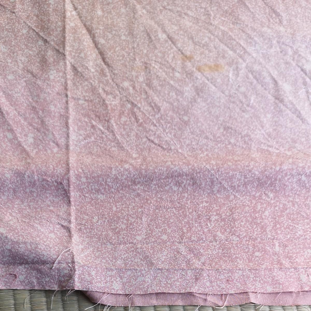 正絹 はぎれ 314cm くすみピンク色 地模様有り 正絹 リメイク はぎれ 素材
