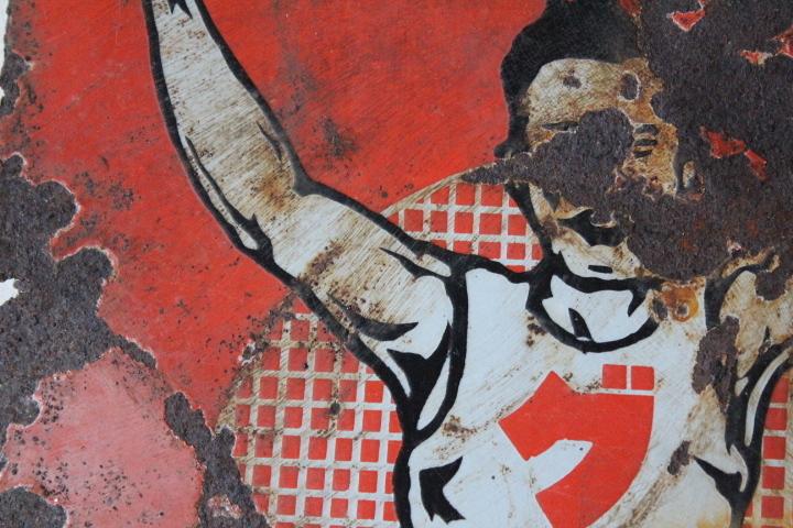 TB526グリコのホーロー両面看板 ビンテージ◇琺瑯/広告/昭和レトロ/シャビー/商店/壁掛け/コレクション/雑貨/古道具タグボート_画像10