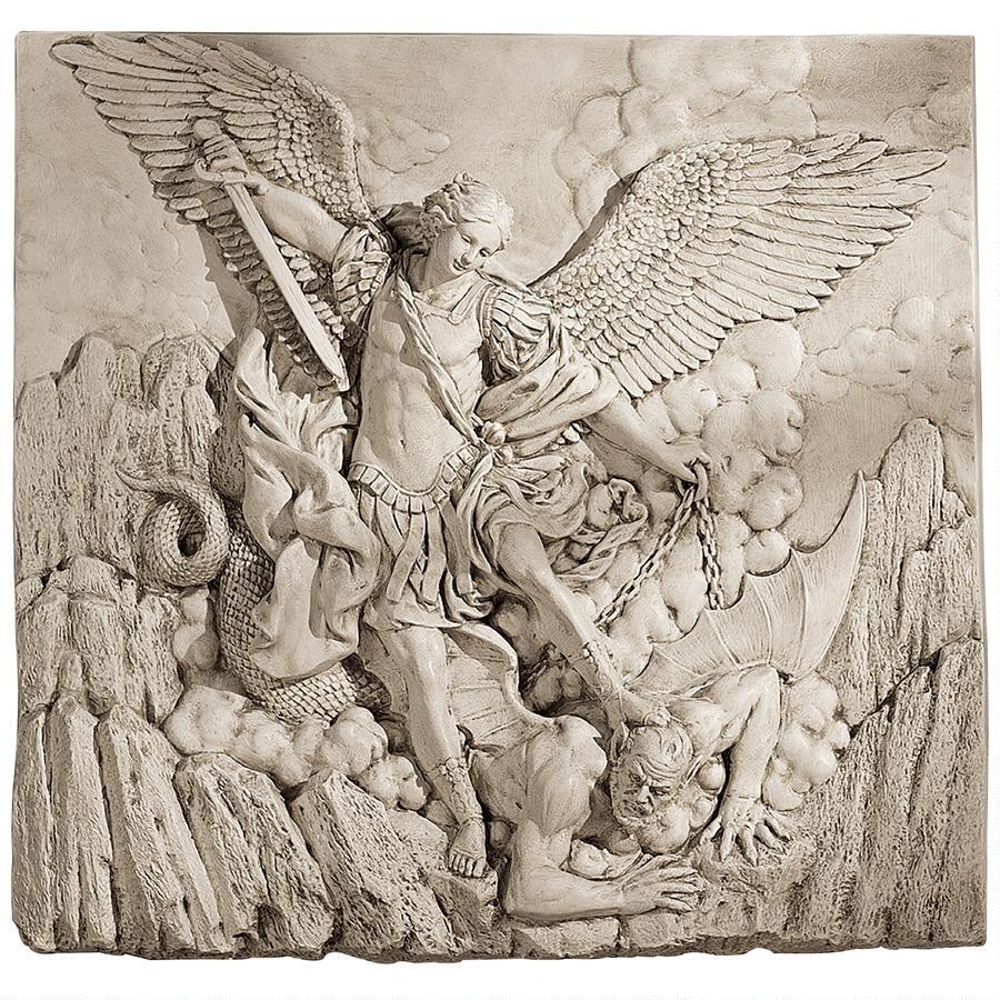 悪魔を倒す天使 壁掛け装飾レリーフキリスト教美術サタンを踏む大天使ミカエルアークエンジェル壁飾りインテリア置物西洋彫刻洋風オブジェ_画像3