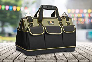 Drado ツールバッグ 工具バッグ 工具袋 道具袋 ベルト付 工具差し入れ 大口収納 1680Dオックスフォード 特化プラスチ_画像8