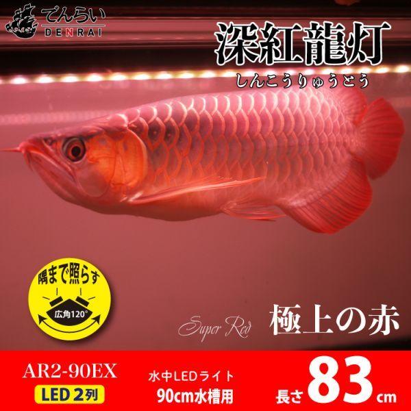 深紅龍灯 アロワナ レッド レベル2 LED 2列 大型水槽 水中照明 アロワナライト アクアリウム 熱帯魚 紅龍 90cm水槽用 でんらい AR2-90EX_画像1