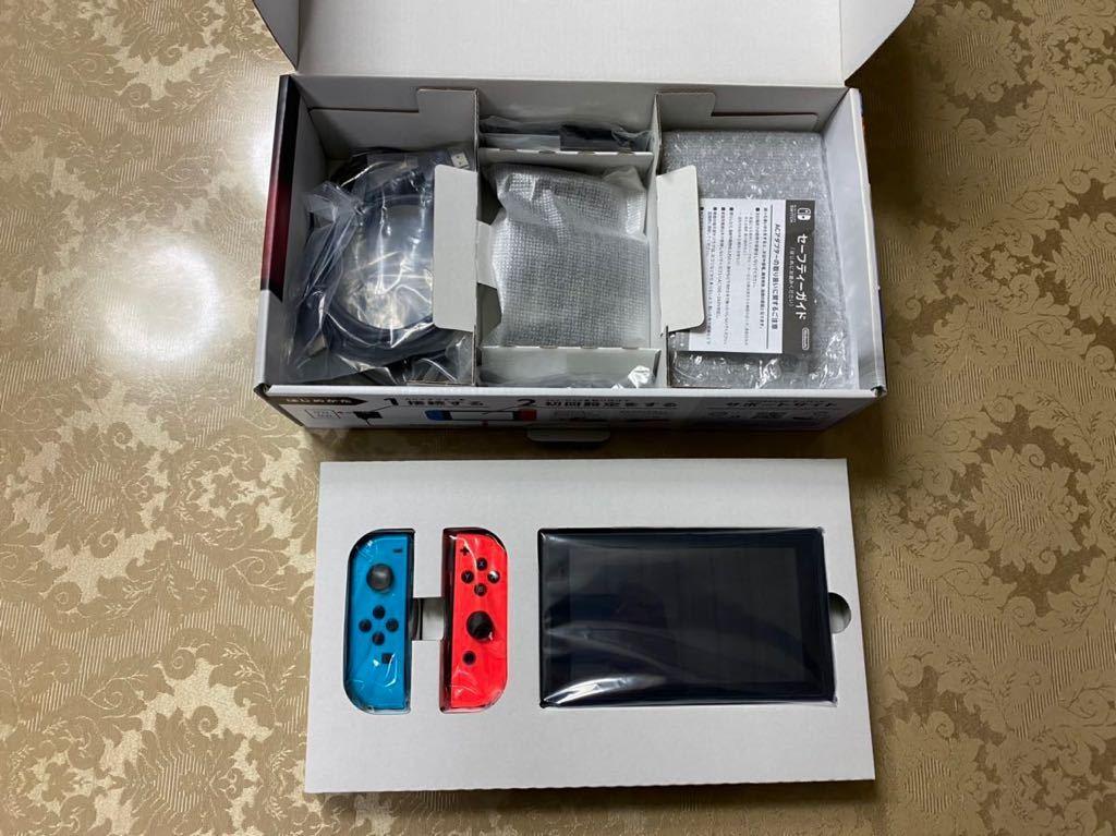 【美品】Nintendo Switch 本体 ニンテンドースイッチ本体 Joy-Con ネオンレッド ネオンブルー 2017年製 付属品完備_画像2