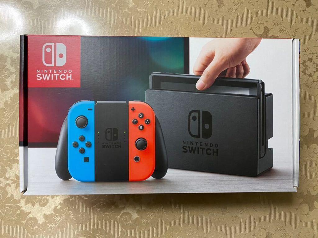 【美品】Nintendo Switch 本体 ニンテンドースイッチ本体 Joy-Con ネオンレッド ネオンブルー 2017年製 付属品完備_画像1