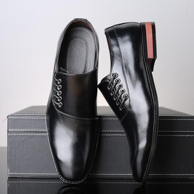 メンズ ビジネスシューズ カジュアルシューズ 革靴 紳士靴 フォーマル 大きいサイズあり ブラック 24.5cm~27.5cm_画像2