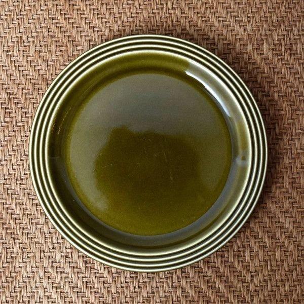 IZ44201I○HORNSEA エアルーム プレート 17.5cm 英国 ヴィンテージ ホーンジー Heirloom グリーン 緑 陶器 デザート イギリス ビンテージ_画像1