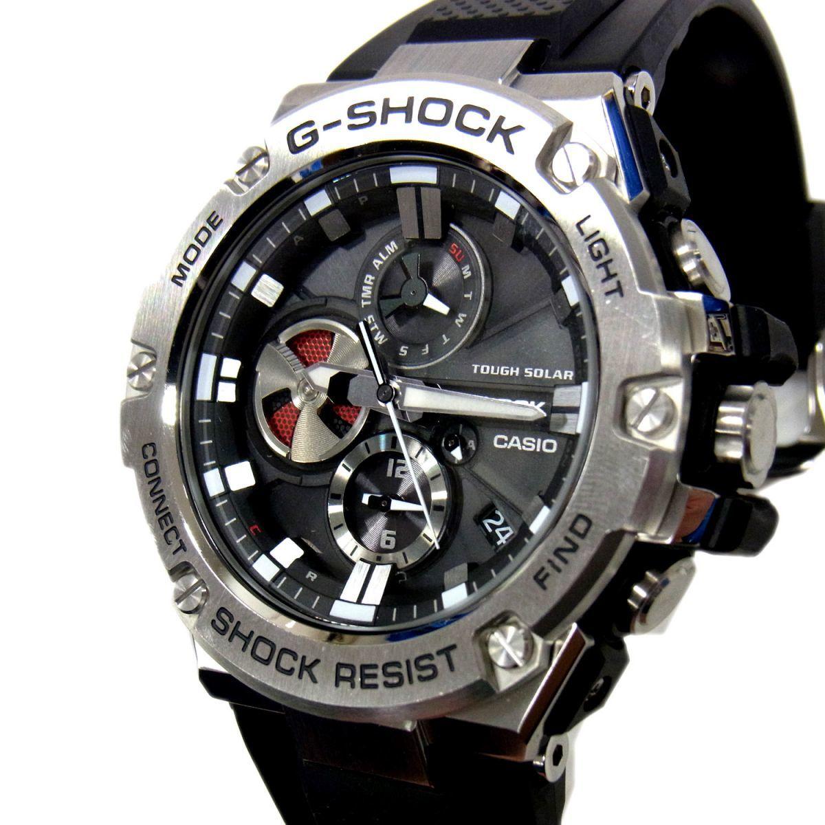 1円 美品 定価5万5000円○Gショック 腕時計 ステンレス ウォッチ CASIO G-SHOCK G-STEEL GST-B100 カシオ ジーショック タフソーラー
