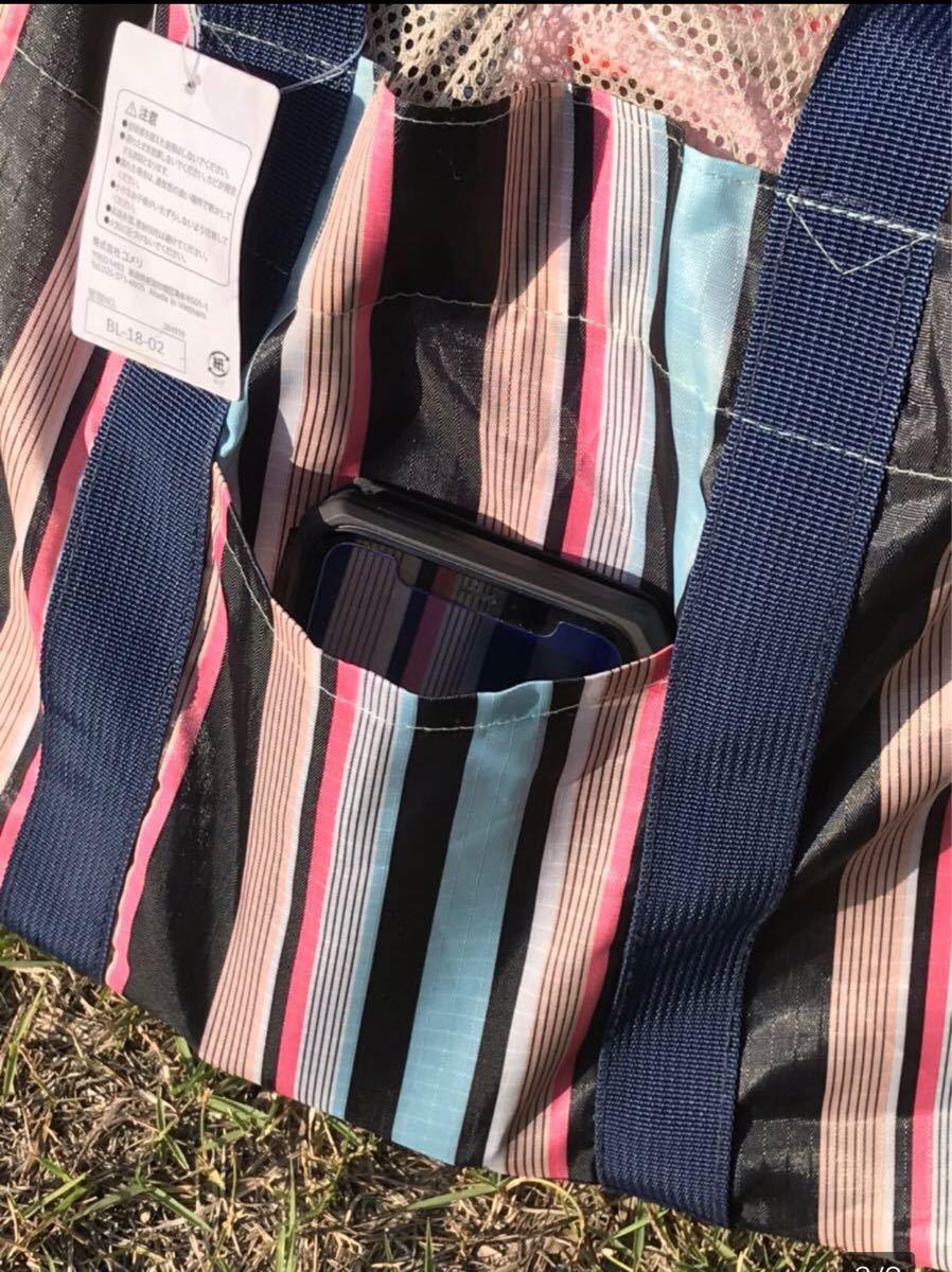 レジカゴバッグ 折りたたみ エコバッグ 大容量 防水素材 ストライプ柄