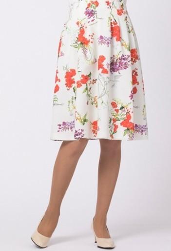 新品 大きいサイズ 定価1.7万 Rose Tiara ローズティアラ フリージアポピーフラワープリントフレアスカート 42【2400012164550】_画像8