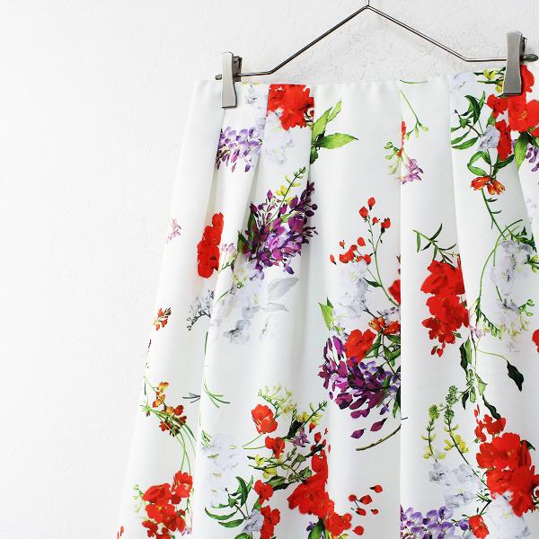 新品 大きいサイズ 定価1.7万 Rose Tiara ローズティアラ フリージアポピーフラワープリントフレアスカート 42【2400012164550】_画像3