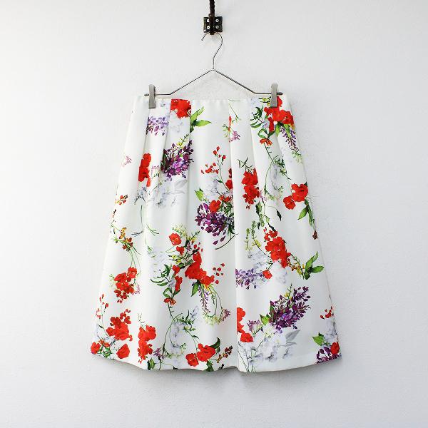 新品 大きいサイズ 定価1.7万 Rose Tiara ローズティアラ フリージアポピーフラワープリントフレアスカート 42【2400012164550】_画像1