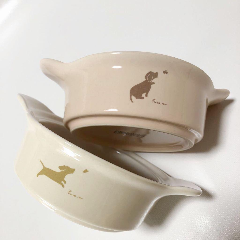 ミスタードーナツ ココット皿 2個 陶器 ミスド ノベルティ 非売品 当時物 mister Donut 10時の小犬 ちょこっとココットセット_画像1