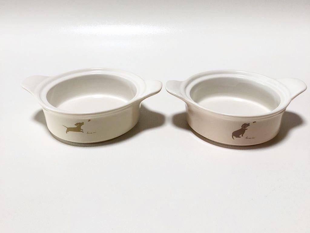 ミスタードーナツ ココット皿 2個 陶器 ミスド ノベルティ 非売品 当時物 mister Donut 10時の小犬 ちょこっとココットセット_画像2