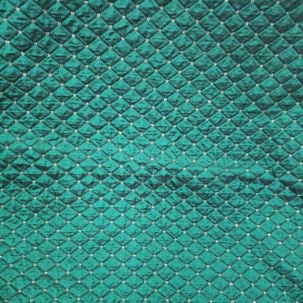 生地 布 柄 シルク65% 緑&金 ハギレ