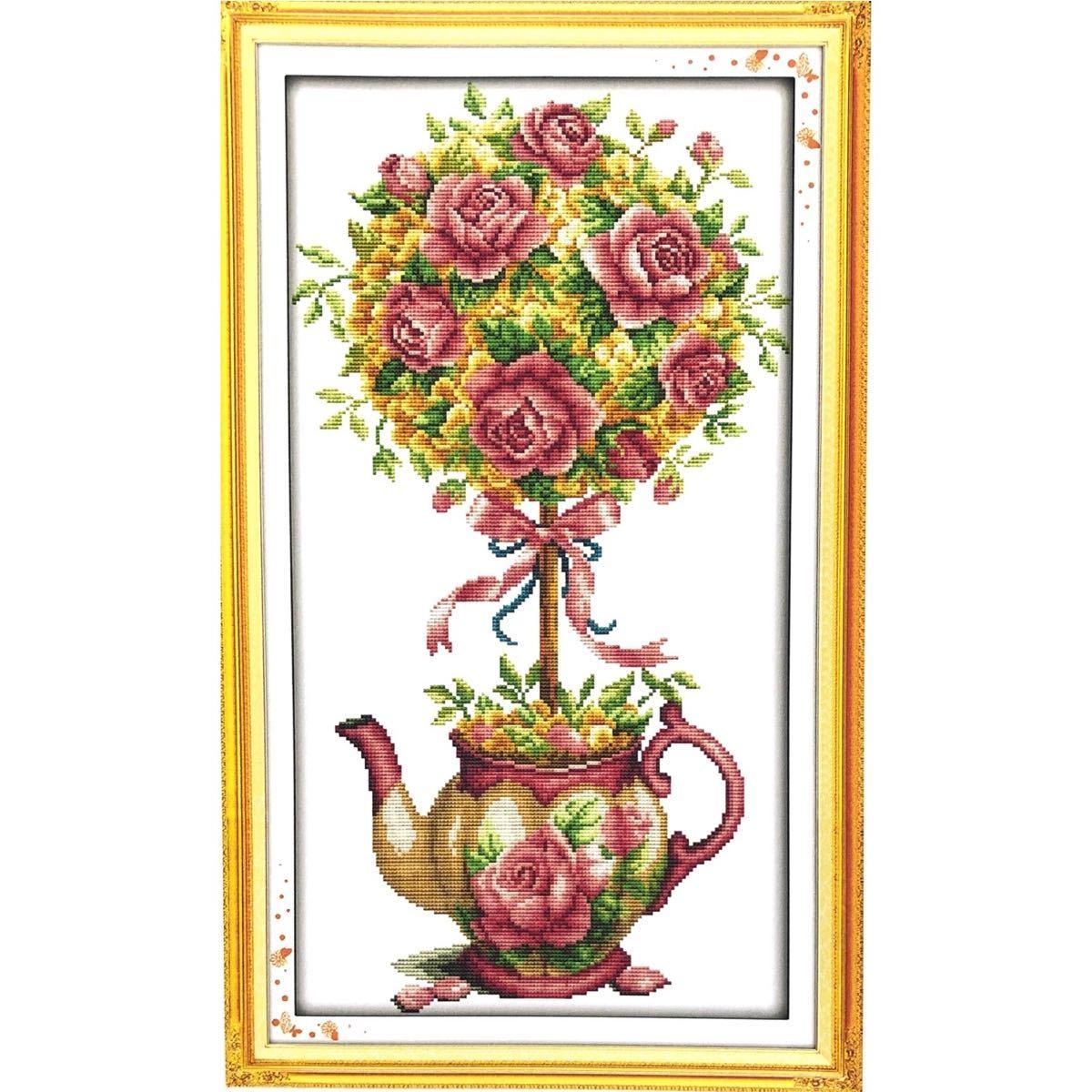 クロスステッチ刺繍キット(J384) ティーポットと花14CT
