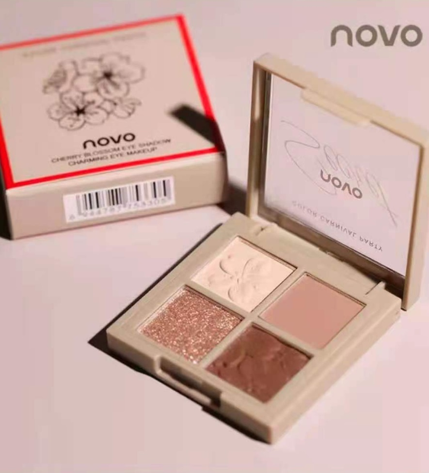 NOVO アイシャドウパレット メイクアップ 4色 さくらシリーズ アースカラー カラー02