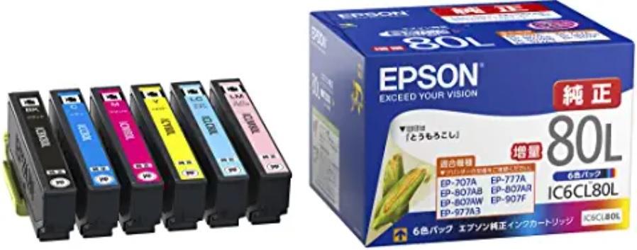 エプソン 純正 インクカートリッジ とうもろこし IC6CL80L 6色パック 増量_画像1