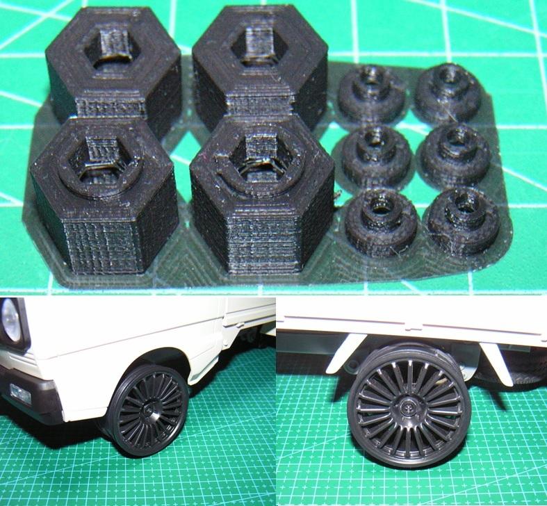 3DプリンタPLA+ 1/10 WPL D12用 5mm→12mmホイール変換ハブ 〔1台分〕 スズキ キャリイ トラック ラジコン RC_上:出品物/下:ホイール装着例
