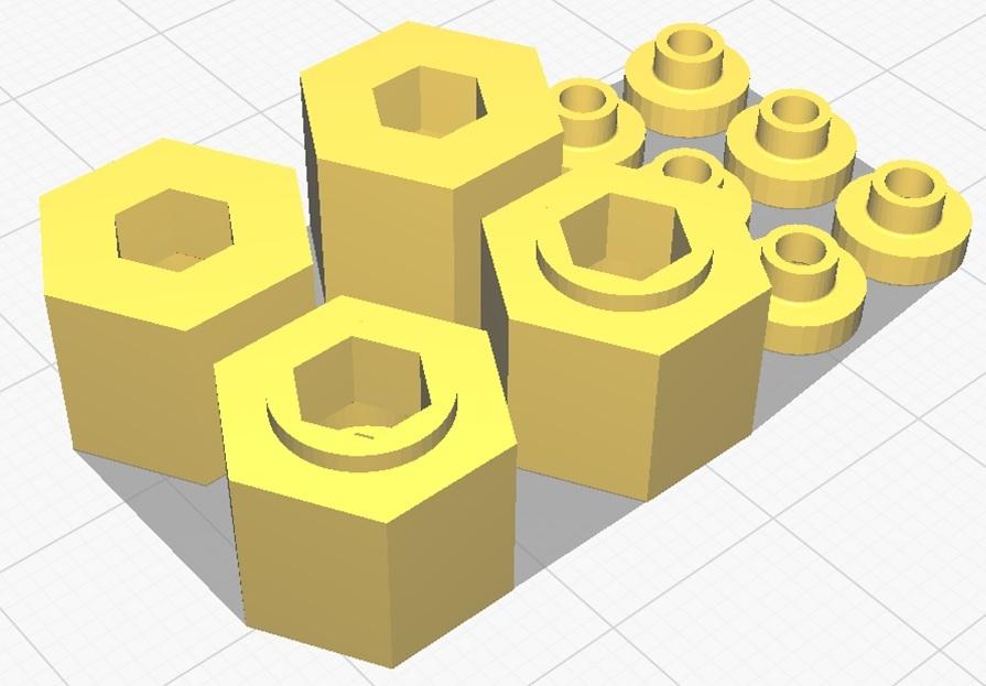3DプリンタPLA+ 1/10 WPL D12用 5mm→12mmホイール変換ハブ 〔1台分〕 スズキ キャリイ トラック ラジコン RC_形状の参考