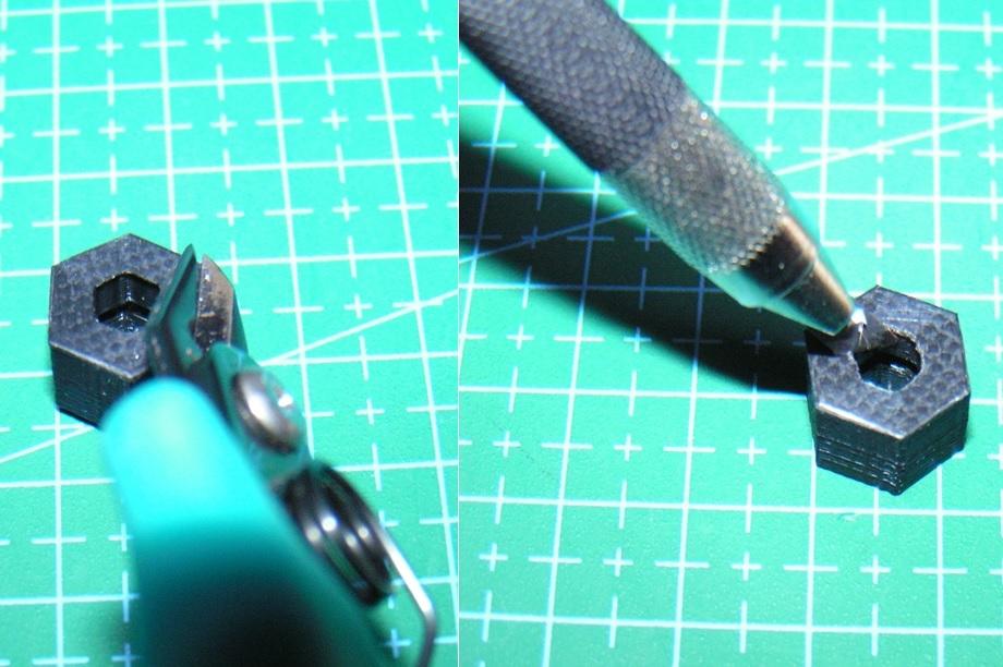 3DプリンタPLA+ 1/10 WPL D12用 5mm→12mmホイール変換ハブ 〔1台分〕 スズキ キャリイ トラック ラジコン RC_バリ取り作業例