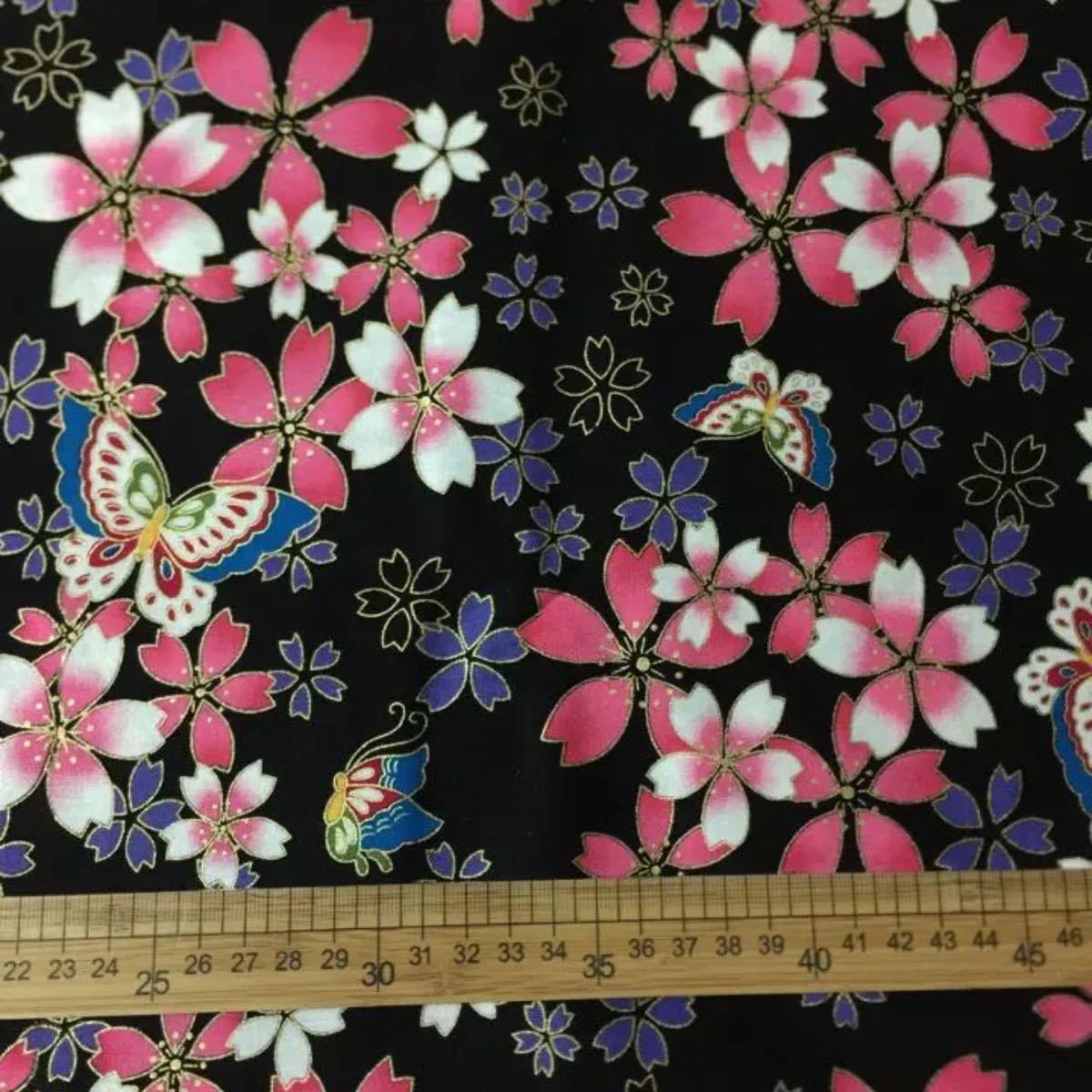 生地 ハギレ 和柄 桜と蝶 花柄 50cm 金糸プリント 黒色