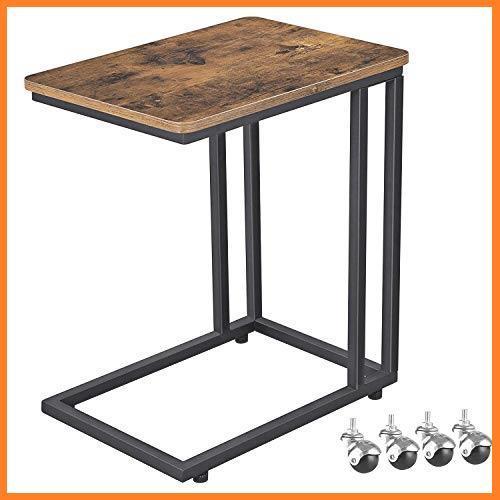 送料無料* VASAGLE 幅50x奥行35x高さ60cm ソファ ナイトテーブル サイドテーブル 耐荷重20kg キャスター付き 広い天板 お買い得_画像1