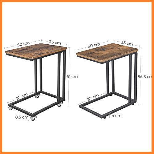 送料無料* VASAGLE 幅50x奥行35x高さ60cm ソファ ナイトテーブル サイドテーブル 耐荷重20kg キャスター付き 広い天板 お買い得_画像5