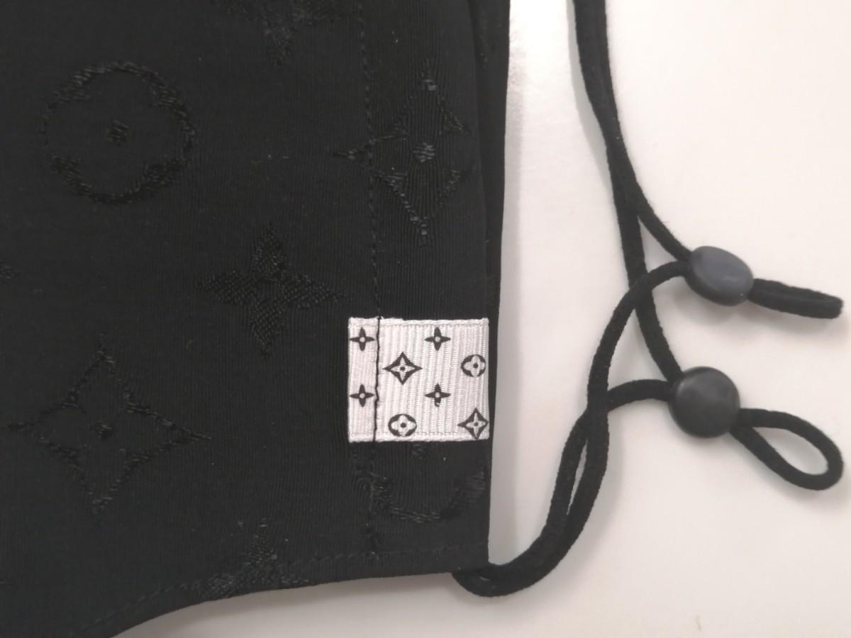 立体インナーノーブランド モノグラム柄 ハンドメイド ブラック 大きめサイズ
