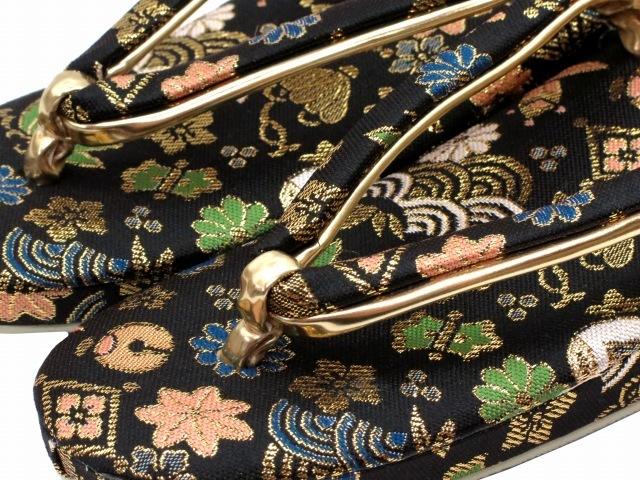"""Kyoto Muromachi st* zori детский """"Семь, пять, три"""" детский 7 лет золотой . ткань. zori 21cm чёрный колокольчик . клен GZO210-783"""