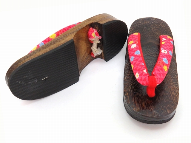 Kyoto Muromachi st*[ ребенок geta ] юката . для девочки крепдешин ткань нос . жарение . geta 22cm персик красный,.... цветок TTG3-22-B