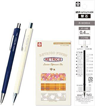 ディープブルー サクラクレパス 油性ボールペン レトリコ 替芯+付箋+シャープセット C柄 ディープブルー NOB304R#1_画像1