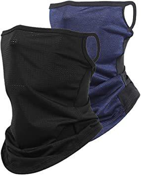ブラック+ブルー フェイスカバー ネックガード ネックゲイター 夏用 冷感 UVカット 耳かけ ランニング ネックカバー 日焼け