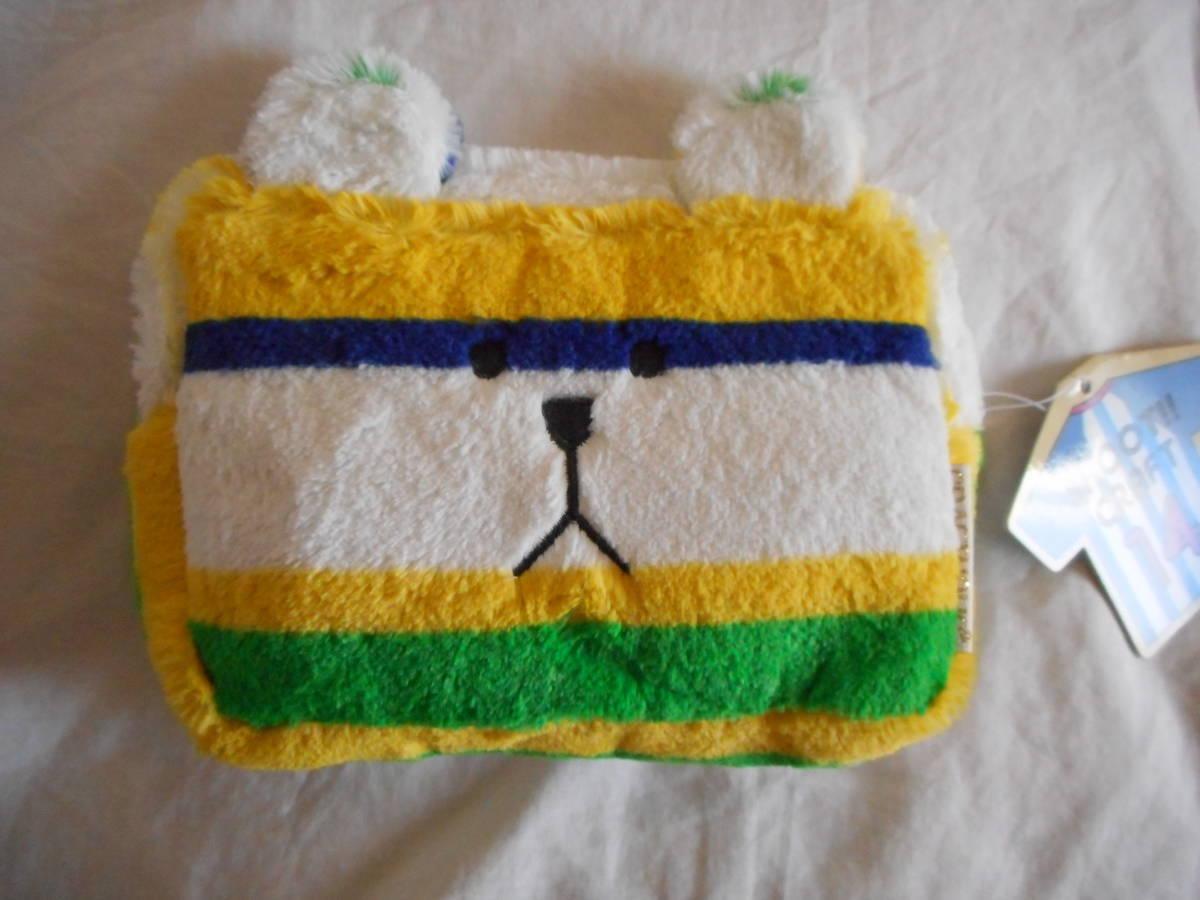 ★ポーチ★サッカー・ブラジルのユニフォームのイメージ 黄色×青×緑 クマのスロース もふもふ/CRAFTHOLIC(クラフトホリック)_画像1