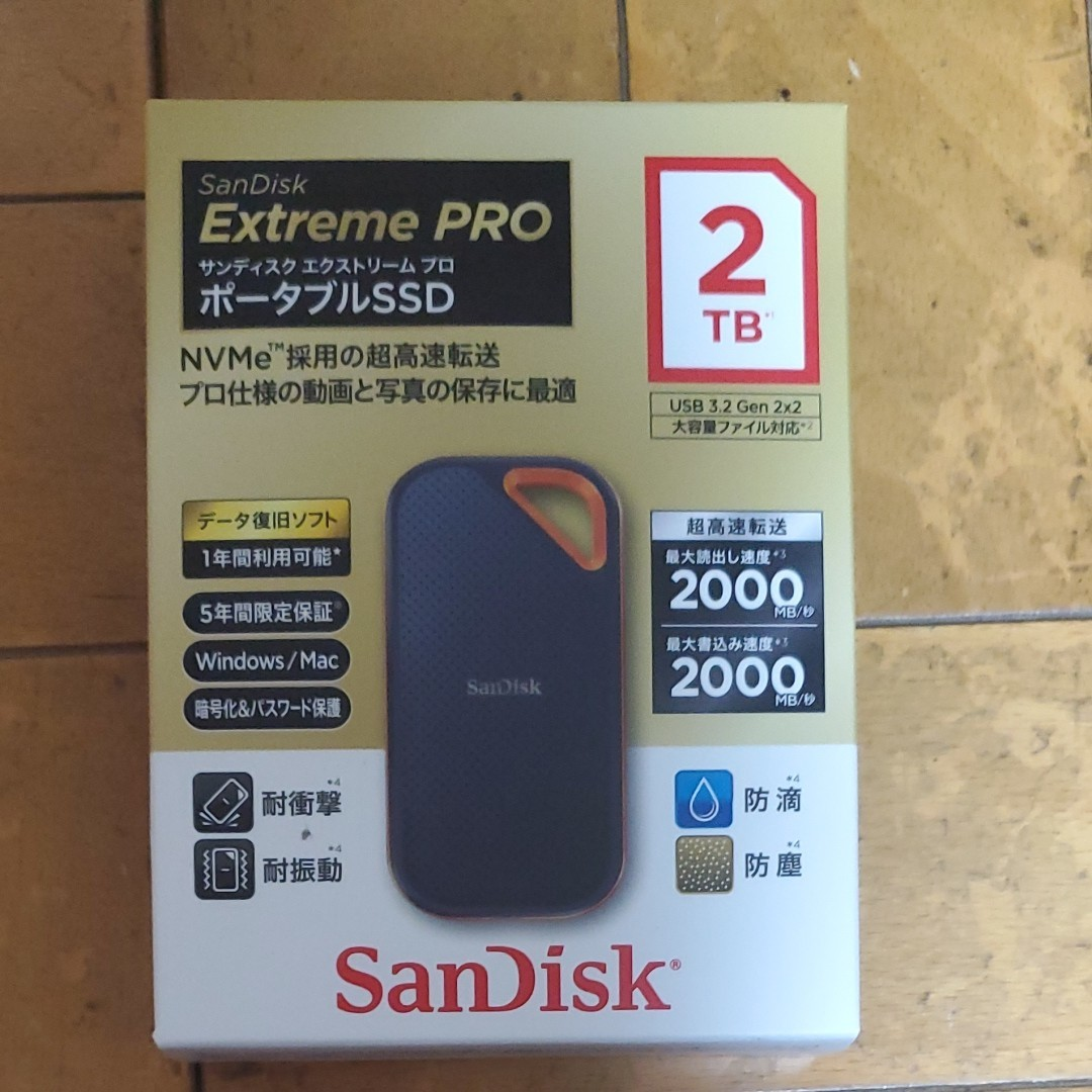 SanDisk ポータブルSSD 2TB  SDSSDE81-2T00-GH25 Extreme Pro サンディスク
