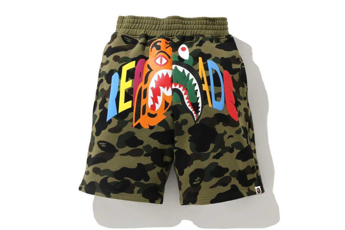 国内 M Bape Readymade Tiger Shark Wide Sweat Shorts ハーフパンツ ショートパンツ シャーク A BATHING APE レディメイド Ready Made _画像1