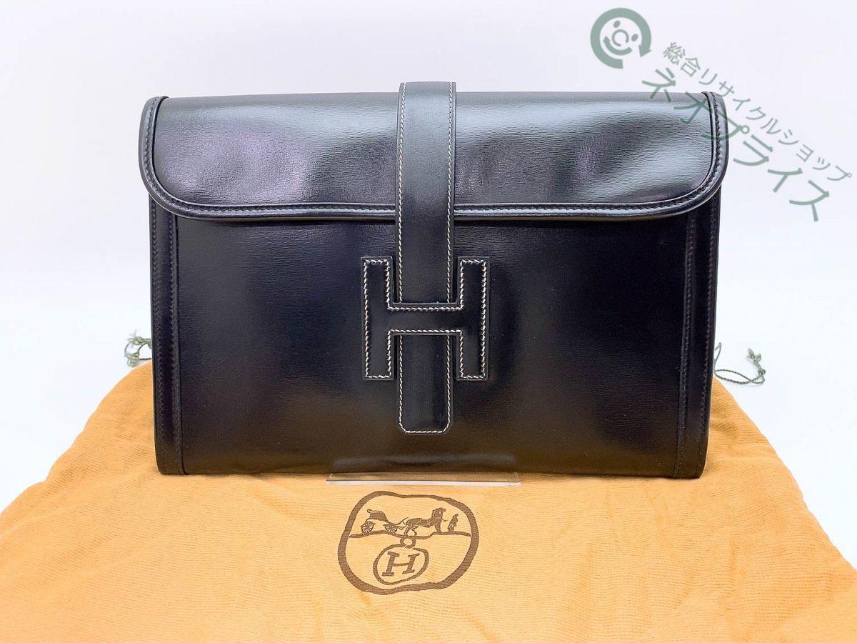 ◆N3204 HERMES エルメス ジジェPM ボックスカーフ 〇M刻印 クラッチ バッグ 良品