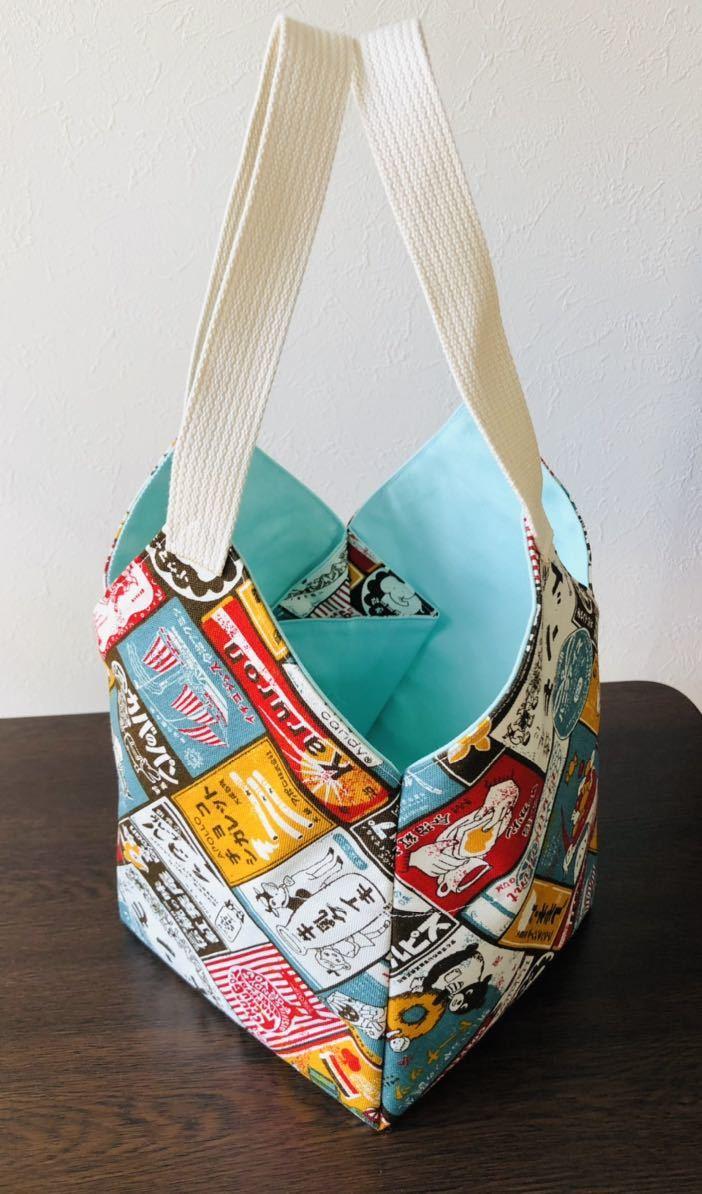 ハンドメイド 昭和レトロ看板柄 トートバッグ おりがみトートバッグ エコバッグ、ランチバッグ、お散歩バッグなどに