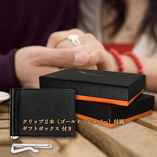ブラック S PEYNE マネークリップ 小銭入れ付き メンズ 財布 - カード 大容量 本革 二つ折り 小銭入れ 薄い財布, _画像8