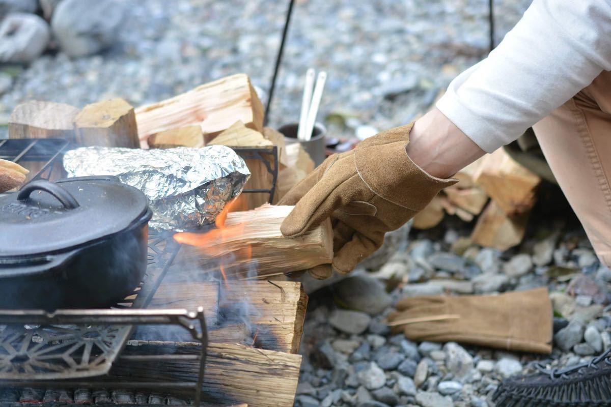 【ネコポス】焚き火革グローブ Lサイズ