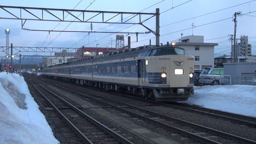 583系伊東臨 車窓 弘前→伊東 (BD-R DL2枚組)_弘前駅に入線