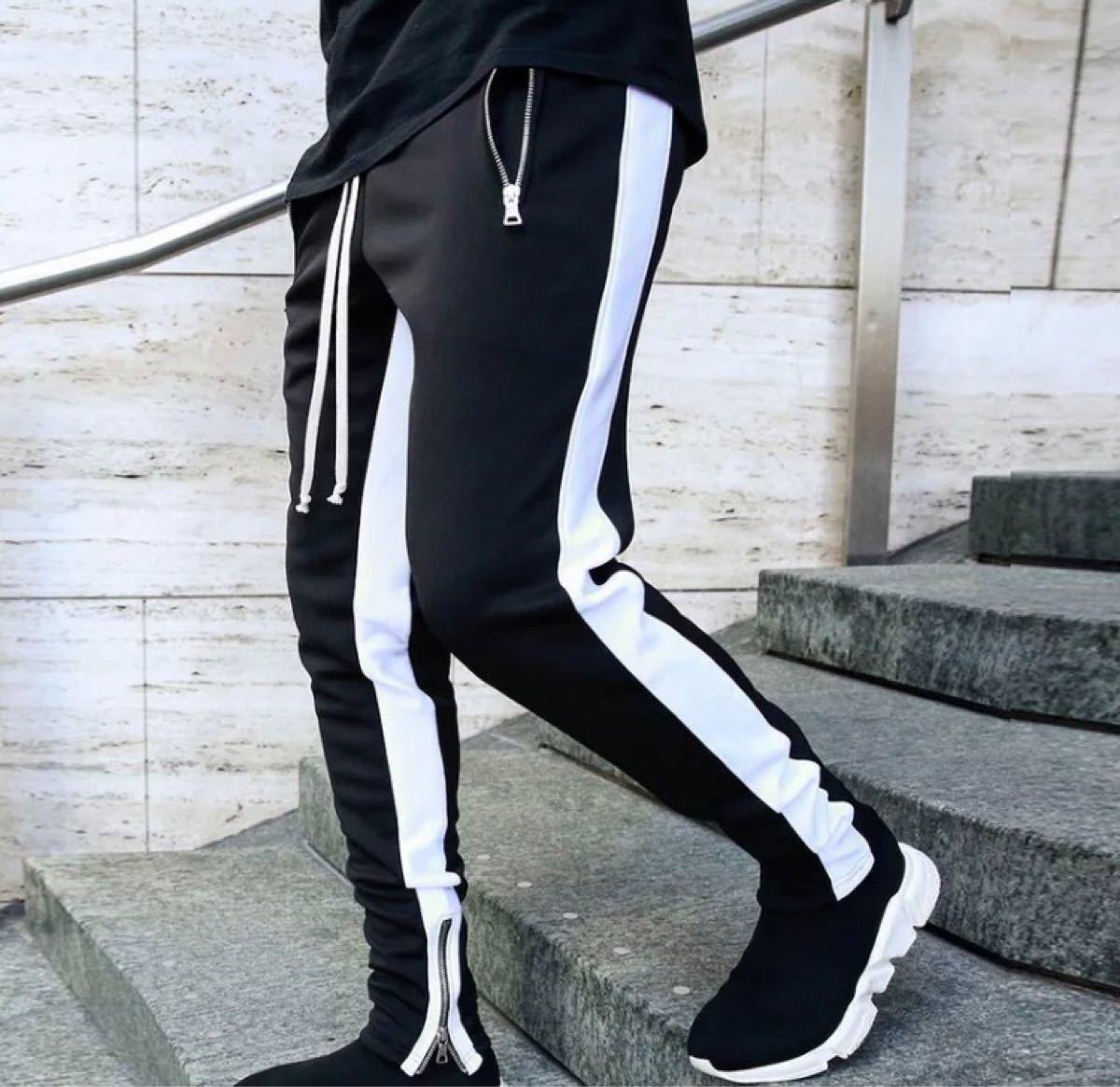 ジョガーパンツ ラインパンツ スキニー スウェット メンズ XXL  ブラック