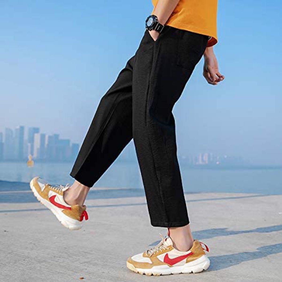 サルエルパンツメンズ サルエルパンツ ズボン ロングパンツ カジュアル 九分丈 薄手 調整紐 通気性 黒 Mサイズ