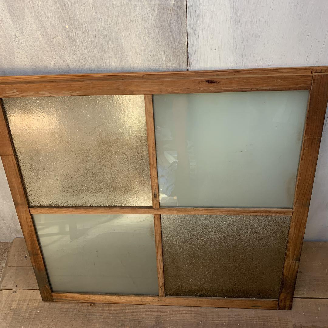 大正ロマン ダイヤガラスと曇りガラスのガラス窓2枚 アンティーク インテリア 店舗什器_画像4