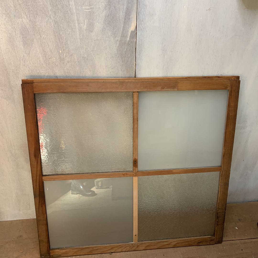 大正ロマン ダイヤガラスと曇りガラスのガラス窓2枚 アンティーク インテリア 店舗什器_画像3