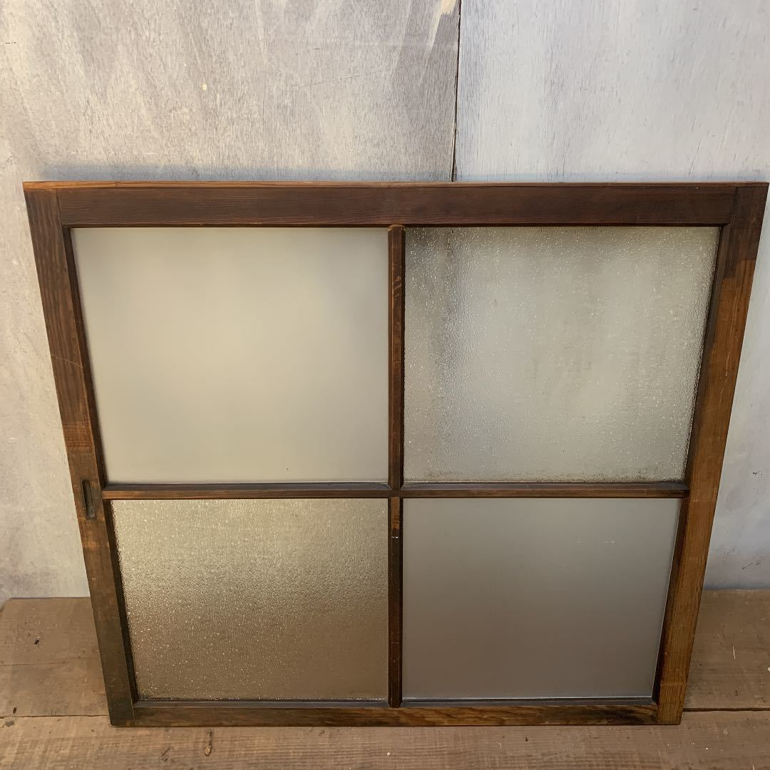 大正ロマン ダイヤガラスと曇りガラスのガラス窓2枚 アンティーク インテリア 店舗什器_画像2