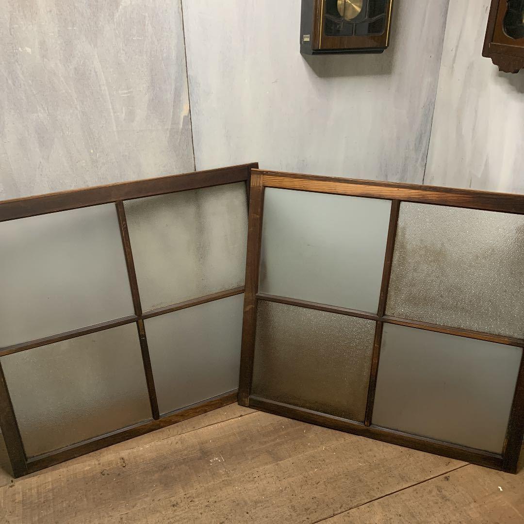 大正ロマン ダイヤガラスと曇りガラスのガラス窓2枚 アンティーク インテリア 店舗什器_画像1