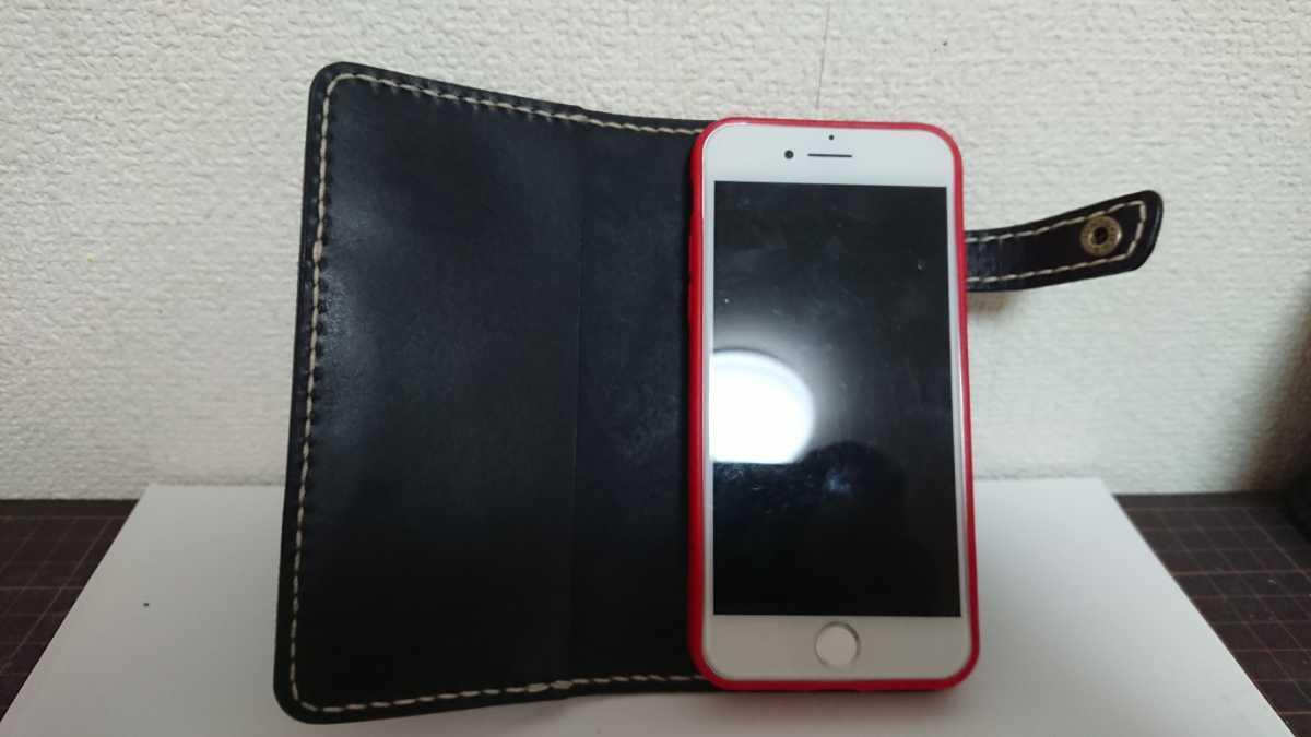 ハンドメイド レザークラフト iphone7 iphone8 手帳型ケース 牛本革 ヌメ革 手縫い 染色(ネイビー)_画像5